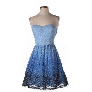 B.Darlin Blue Strapless Cocktail Dress